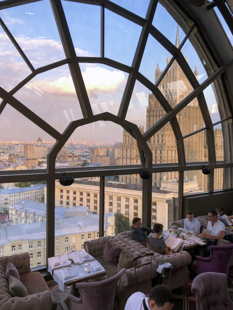 If you're looking for an Instagrammable hotspot in Moscow, then definitely go to White Rabbit. White Rabbit offers an amazing view over Moscow.