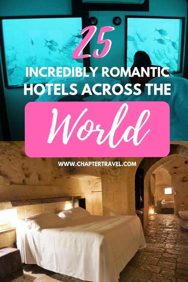 In need of a romantic getaway? Book a super romantic hotel anywhere in this world with your loved one and just don't leave the room! Guaranteed succes. In this article you can find 25 romantic hotels all across the world! #romanticgetaways #romantichotels