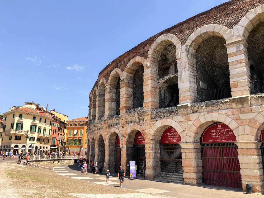 The impressive Arena in Verona. It's one of the best preserved ancient structures of its kind. This Roman amphitheatre can be found in Piazza Bra.