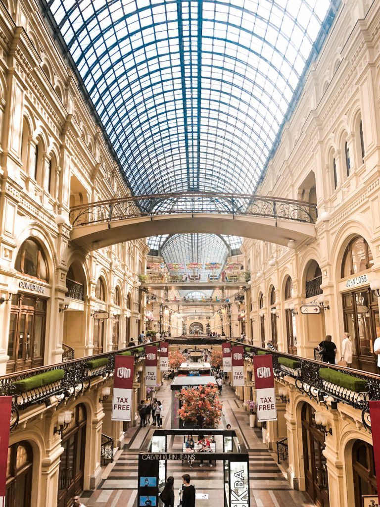 "One of the most fanciest malls ever. This photo was taken from one of the ""bridges"" in the Gum mall in Moscow."